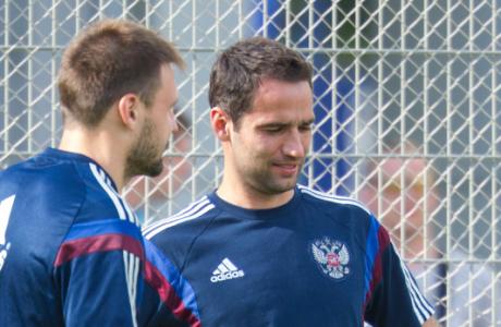 Тренировка сборной России перед матчем со Слоавкией