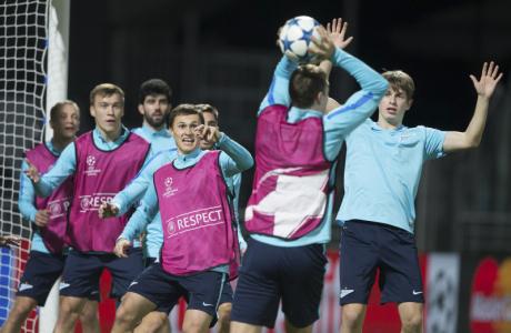 Тренировка «Зенита» перед матчем Лиги Чемпионов УЕФА 2015/16, «Лион» — «Зенит»