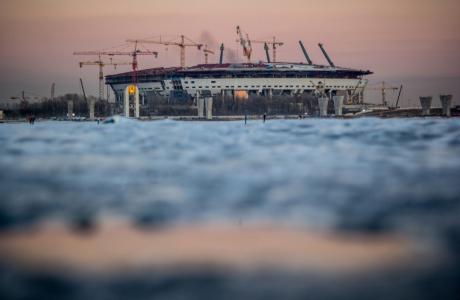 Строительство стадиона на Крестовском острове: март 2015 года